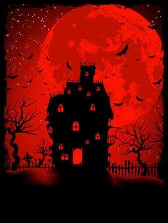 evil girl: Scary Halloween Castello con illustrazione Copy Space