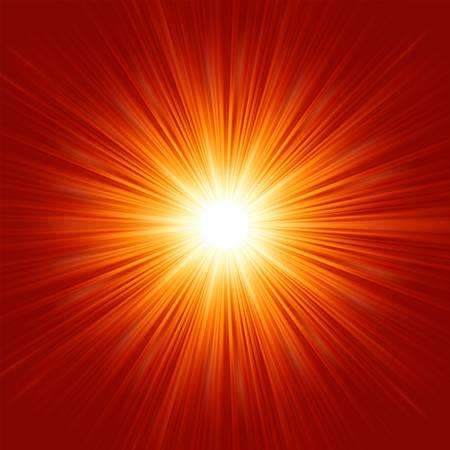 raggi di luce: Bianco stella scoppio isolato in illustrazione rosso spazio