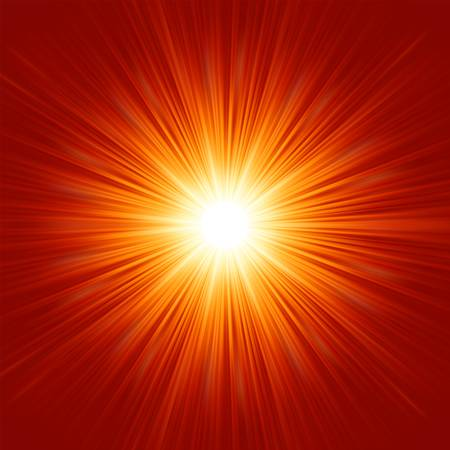 White bursting star isolated in red space illustration Vector
