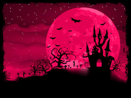 monsters house: Halloween poster with zombie background illustration