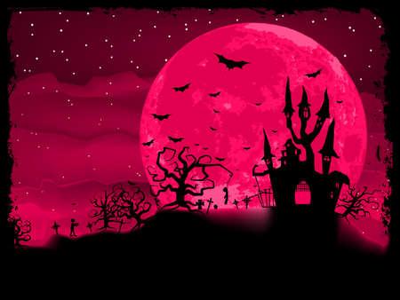 evil girl: Poster Halloween zombie con illustrazione sfondo Vettoriali