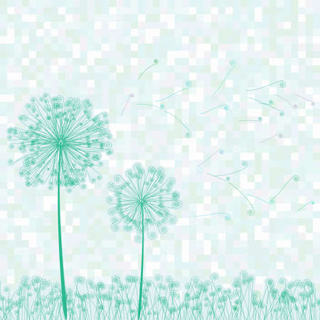 Retro greeting card with flowers and dandelion illustration Illustration