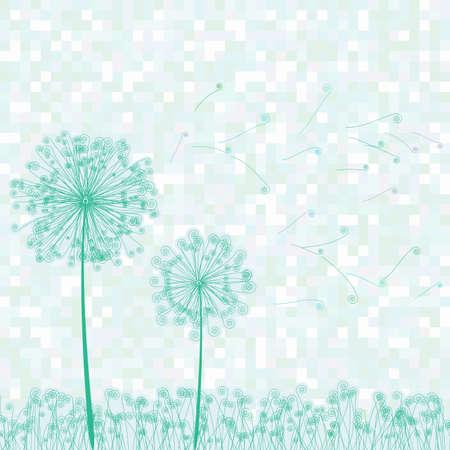 saludo: Tarjeta de felicitaci�n con flores retro y la ilustraci�n de diente de le�n Vectores