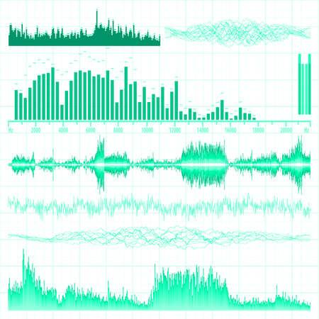 Sound waves set  Music background illustration Stock Vector - 12960255