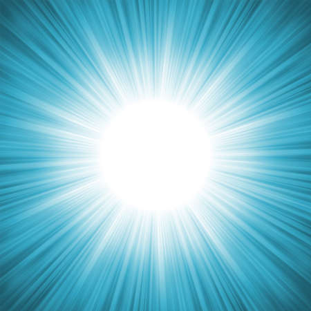 light burst: Schneeflocken und Sternen absteigend auf einem Strahlen von blauem Licht, Abbildung, Illustration