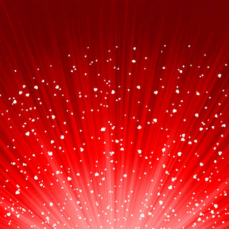 Little hearts floating on rays of light  EPS 8 vector file included Illustration