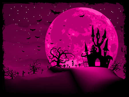 Halloween invitation or background with spooky castle and bats  EPS 8 vector file included Vector