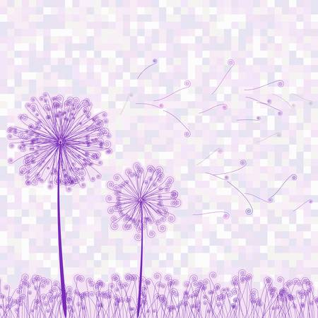 Retro greeting card with flowers and dandelion  EPS 8 vector file included Vector