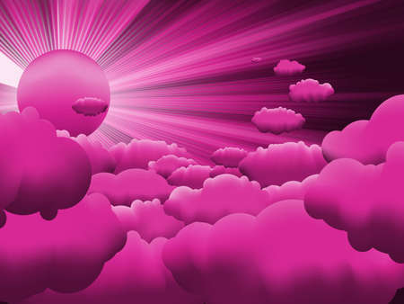 Sun and purple sky with beautiful clouds  Vector