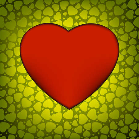 yearning: Love background made from green hearts Illustration