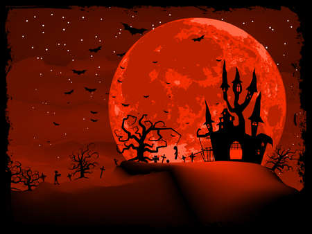 scary story: Scary halloween vector with magical abbey vector file included
