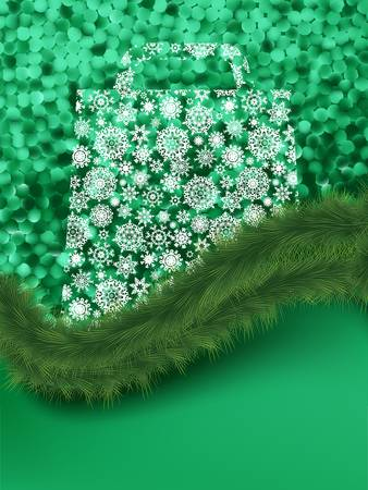 Bag For Shopping With snowflakes, On green elegant Background Stock Vector - 13198495