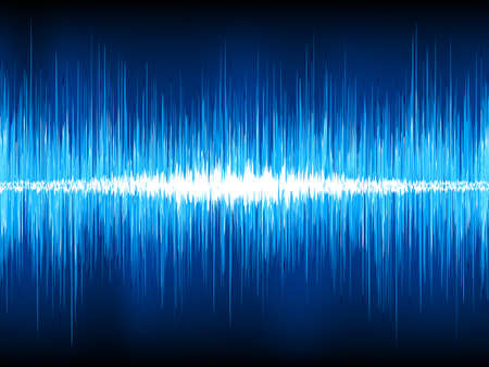 vibrations: Sound waves oscillating on black background Illustration
