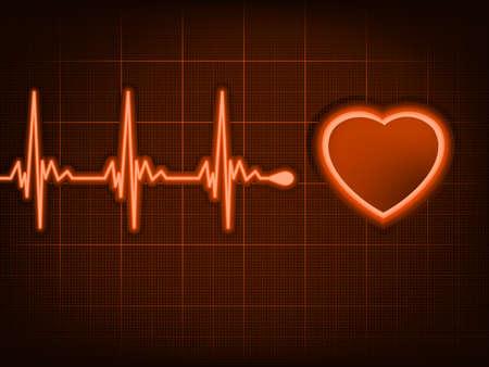 electrocardiograma: Cardiograma corazón con la sombra sobre el mismo color rojo oscuro