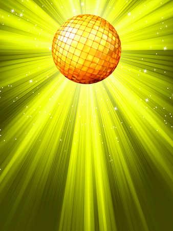 flashy: Sparkling yelloe green disco ball