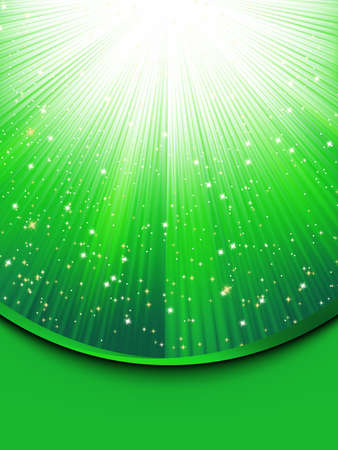 diminishing point: Abstract green background with stars Illustration