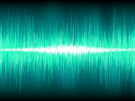 Sound waves oscillating on blue background Vector