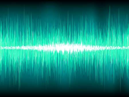 volume glow light: Sound waves oscillating on blue background Illustration