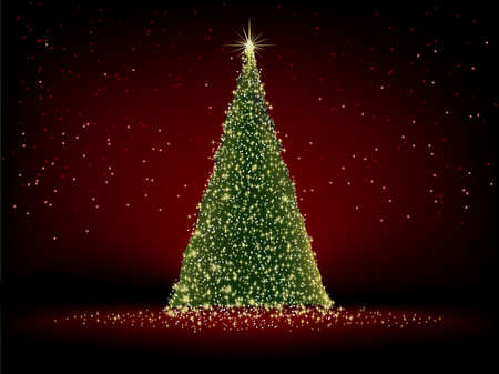 Abstract green christmas tree on red background file included  Vector