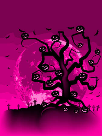 Halloween Tree with Bats and Pumpkins   Vector