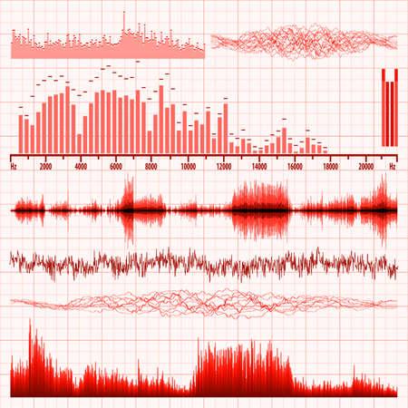 geluidsgolven: Geluidsgolven ingesteld Muziek achtergrond EPS 8 vector bestand opgenomen Stock Illustratie