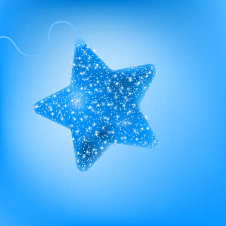 Christmas star illustration - postcard with a twinkling blue star  EPS 8 vector file included Vector
