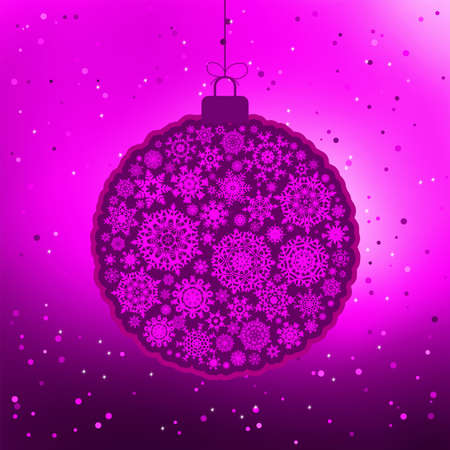 Vintage card with violet Christmas ball  Vector