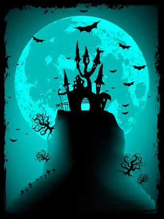 obscure: Vector de Halloween de miedo con la m�gica abad�a Vectores