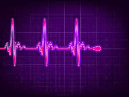 Heart cardiogram with shadow on it deep purple Vector