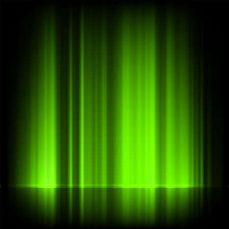 Green northern lights, aurora borealis Vector
