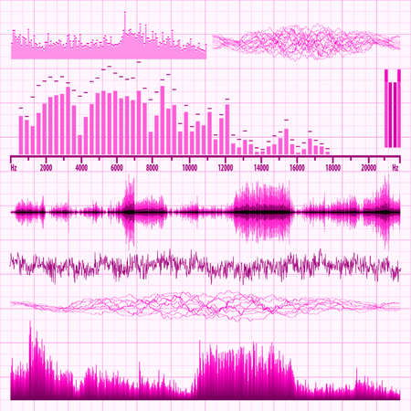 Sound waves set  Music background Stock Vector - 13866766