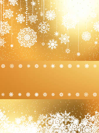 Golden Merry Christmas greeting card Vector