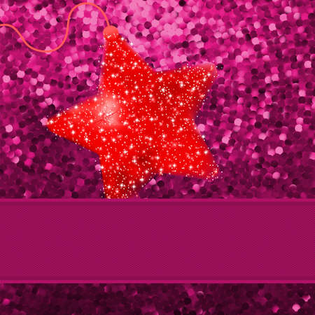 Christmas stars on red background Stock Vector - 13905596