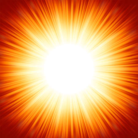 blinding: Centered red orange summer sun light burst   Illustration