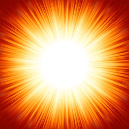Centrado en rojo la luz del sol de verano naranja estalló