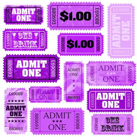 raffle ticket: Violet set of ticket admit one
