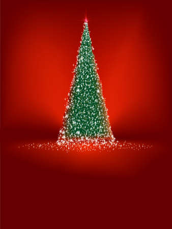 Abstract green christmas tree on red background  EPS 8 vector file included  Vector