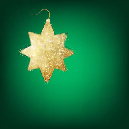 peaceful background: Christmas decoration, holiday background with golden star - postcard with a twinkling gold star