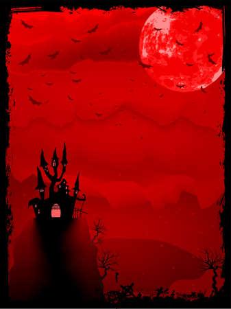 helloween: Spooky Halloween compositie met horror huis en populaire vakantiebestemming attributen Stock Illustratie