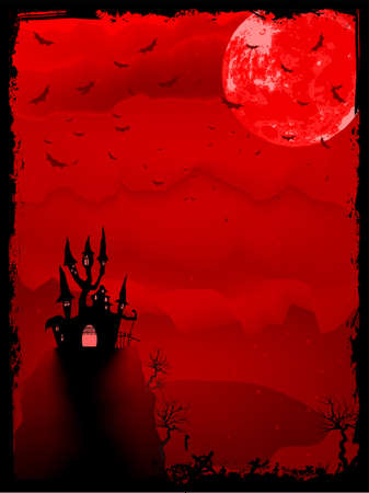 spooky tree: Spooky Halloween composition with horror house and popular holiday attributes