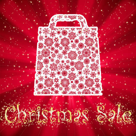 Bag For Shopping With snowflakes, On gold red Background Stock Vector - 14242952