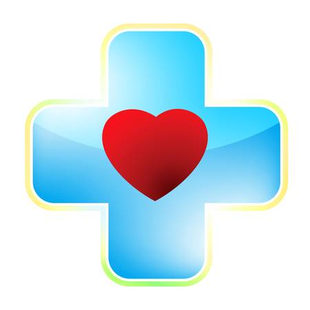 medical cross symbol: Heart medical cross  file included
