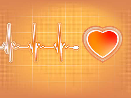 Heart cardiogram with shadow on orange file included Vector
