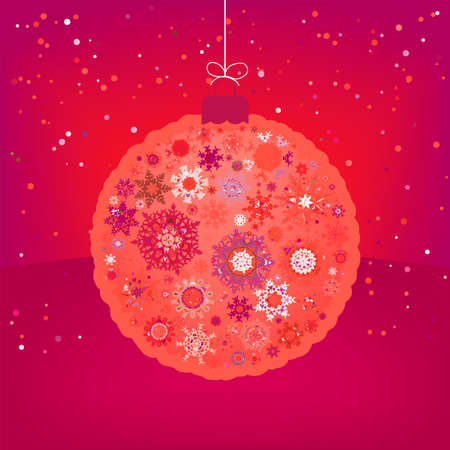 &Ntilde,hristmas card with orange ball file included Vector