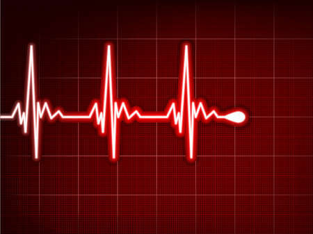 Heart cardiogram with shadow on it deep red file included Vector