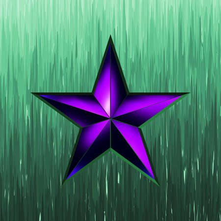 illustration of a purple star on steel background Vector