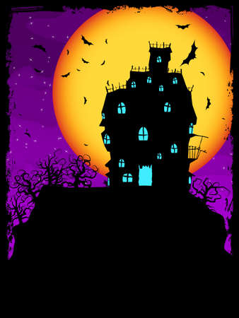 Vector Haunted House on a Graveyard hill at night with full moon  EPS 8 vector file included  Vector
