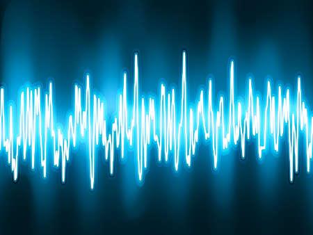 Las ondas sonoras oscilantes luz incandescente Ilustración de vector