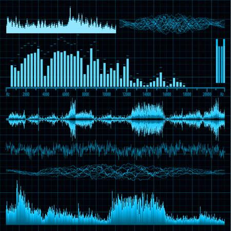 Le onde sonore impostare background EPS Musica 8 file vettoriale incluso