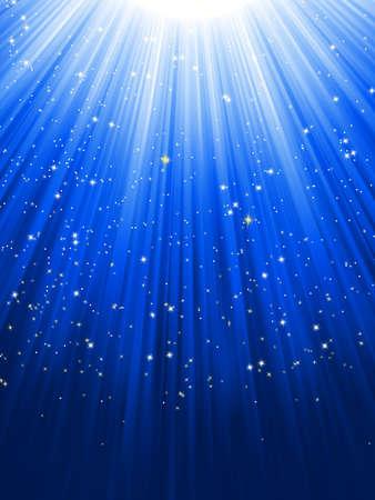 noche estrellada: Estrellas en fondo rayado azul Vectores